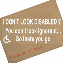 1 x I Don't Look Disabled ? You Don't Look IGNORANT So there you go-200x87mm-Internal Window Sticker